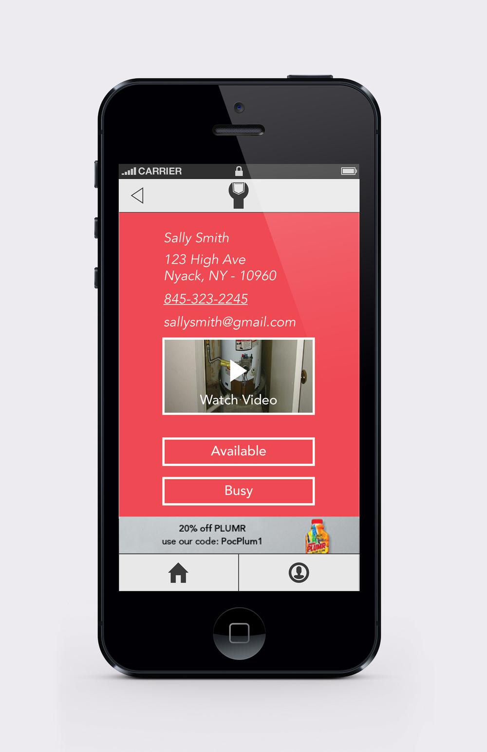 Pocket Plumber plumber alert details screen