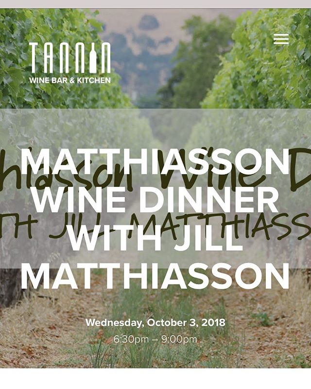 Matthiasson Wine Dinner next Wednesday at @tanninkc ! Reserve your seats while they last. Link in profile. #naturalwine #napawine #jamesbeard #napa @matthiasson_wine