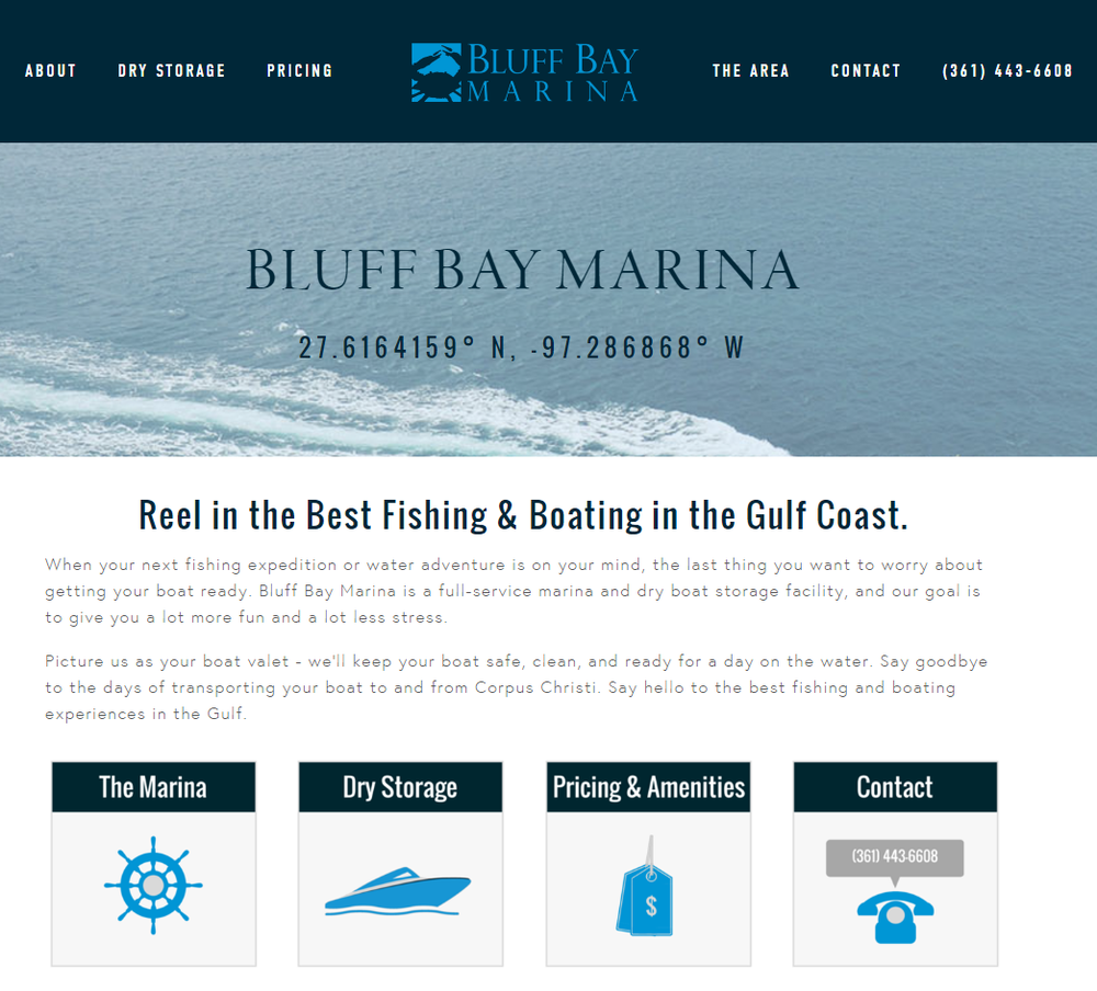 Bluff Bay Marina Homepage Content - Rough Draft Solutions