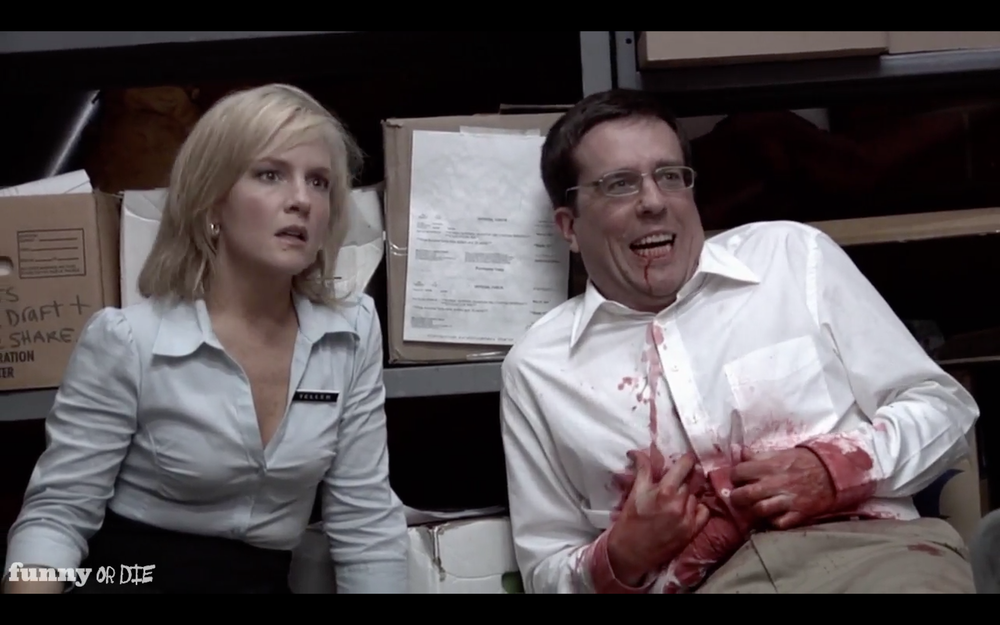 "Rachael Harris and Ed Helms in ""Hold Up"""