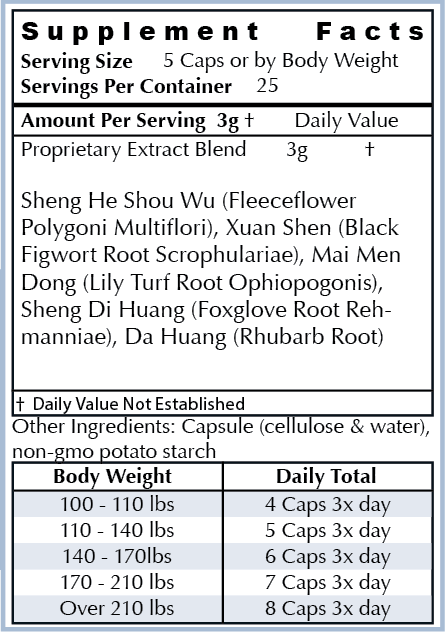 Ingredients: - All Natural Herbs: Sheng He Shou Wu (Fleeceflower Polygoni Multiflori), Xuan Shen (Black Figwort Root Scrophularia), Mai Men Dong (Lily Turf Root Ophiopogonis), Sheng Di Huang (Foxglove Root Rehmanniae), Da Huang (Rhubarb Root)Our ingredients are the highest quality non-GMO natural ingredients sourced from around the world. Our supplements are manufactured in the USA in cGMP facilities registered with the FDA. Many supplement companies add toxic ingredients; we formulate ours with powerful herbs used for centuries and backed by scientific research.