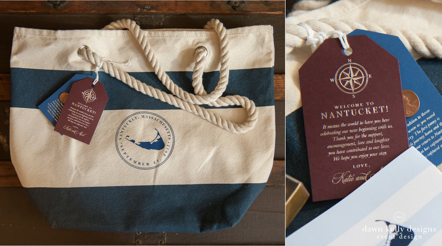 WELCOME GIFTS — Dawn Kelly Designs - Nantucket Wedding & Event Design - Stationery - Welcome Bags