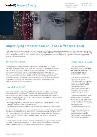 Impact Study: Objectifying Transnational Child Sex Offences (TCSO)