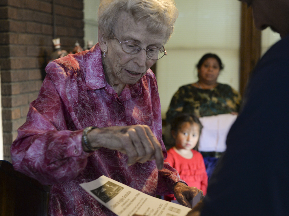 Owensboro's Latino community often faces obstacles that stem from a difficulty to communicate. Many individuals who come to the Centro Latino need paperwork translated, and Sister Fran helps a man read his job application.