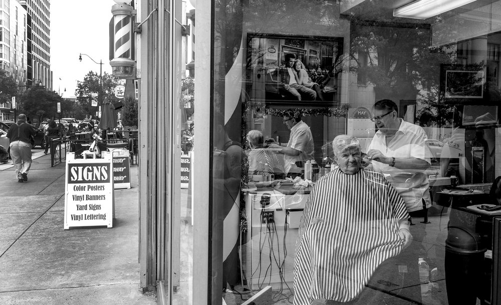 Barber Shop on Gay Street, Downtown Columbus, Ohio. June 8, 2017.
