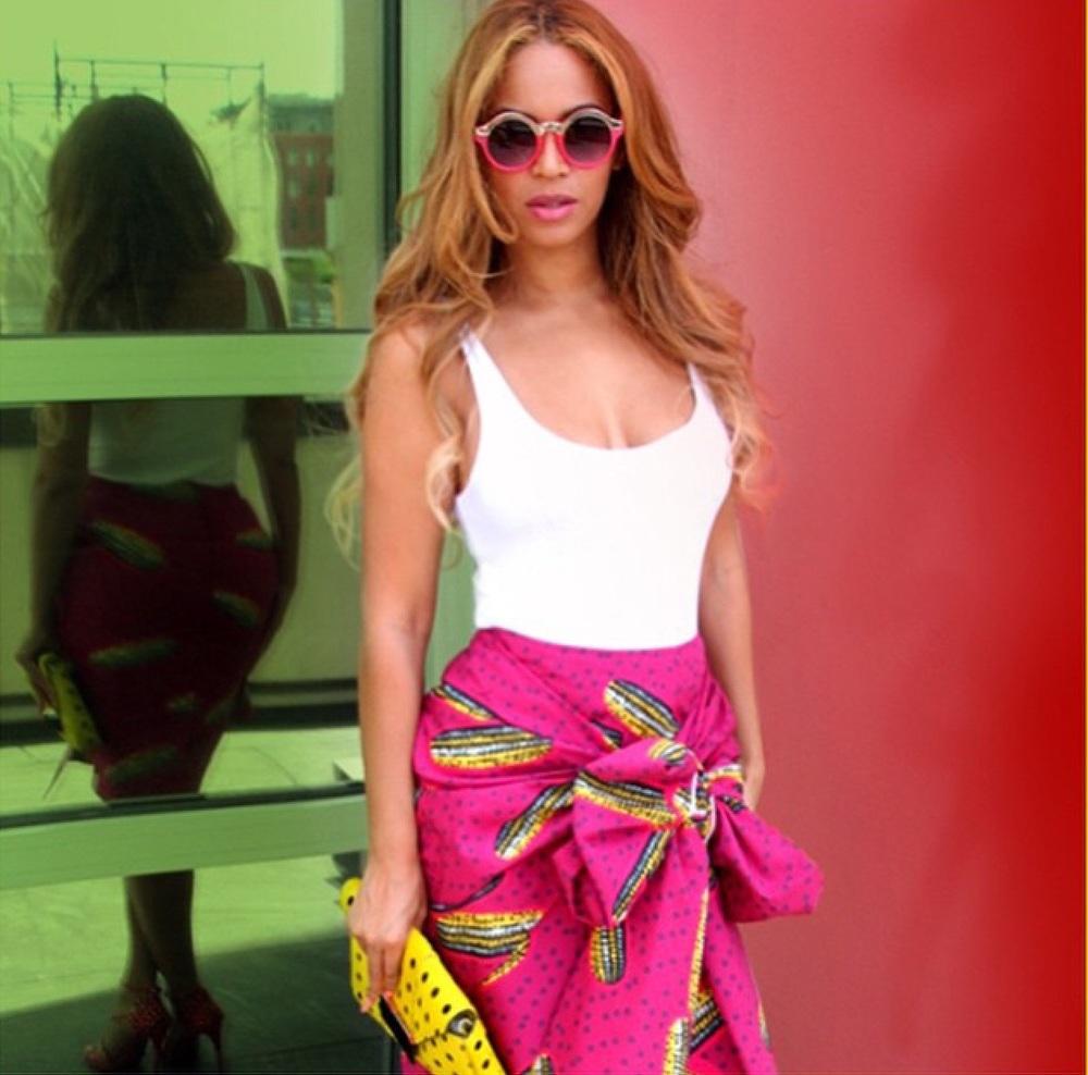 Wearing a Stella Jean Ankara skirt