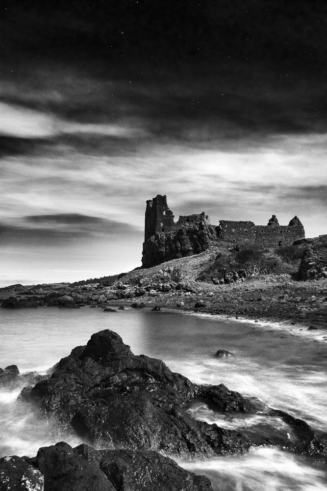 Dunure Castle at Midnight in B&W.jpg