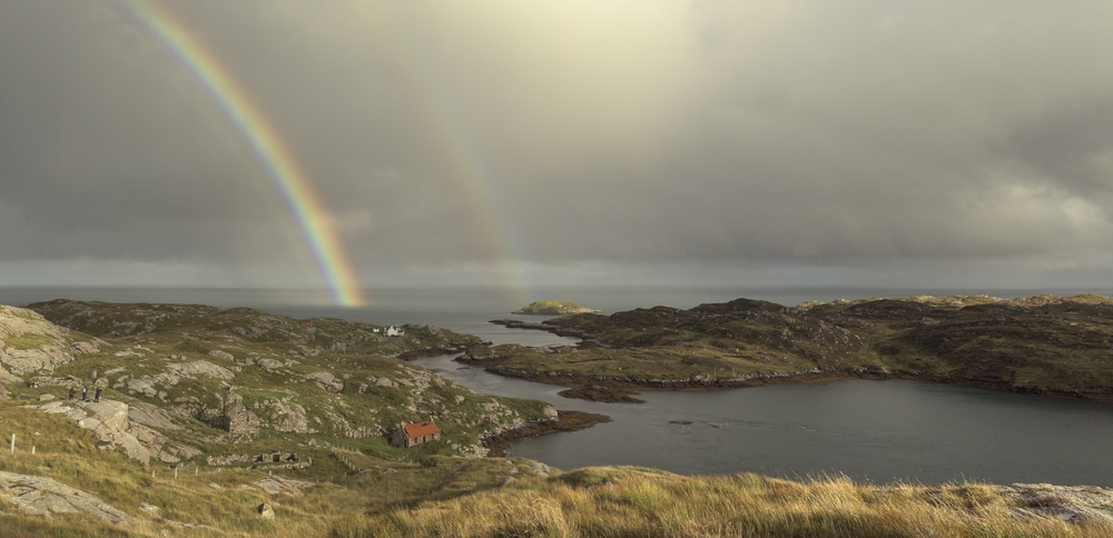 Rainbow Warriors. Three of the group can be seen capturing the changeable scenery of Manais, South Harris.