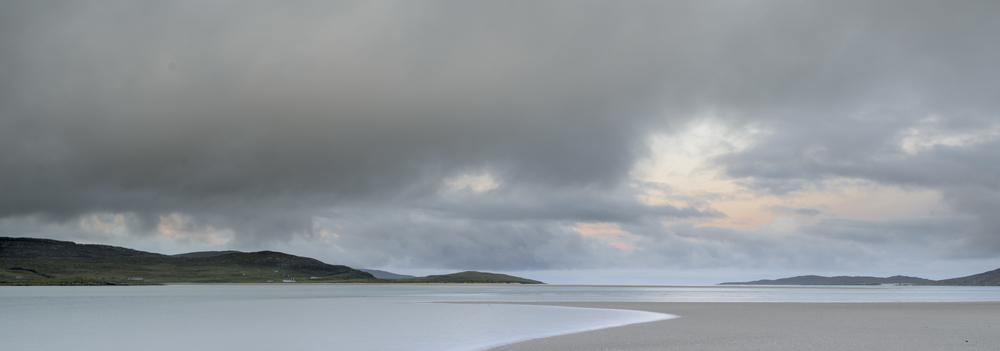 Pastel colours of sunrise over Luskentyre, Harris.
