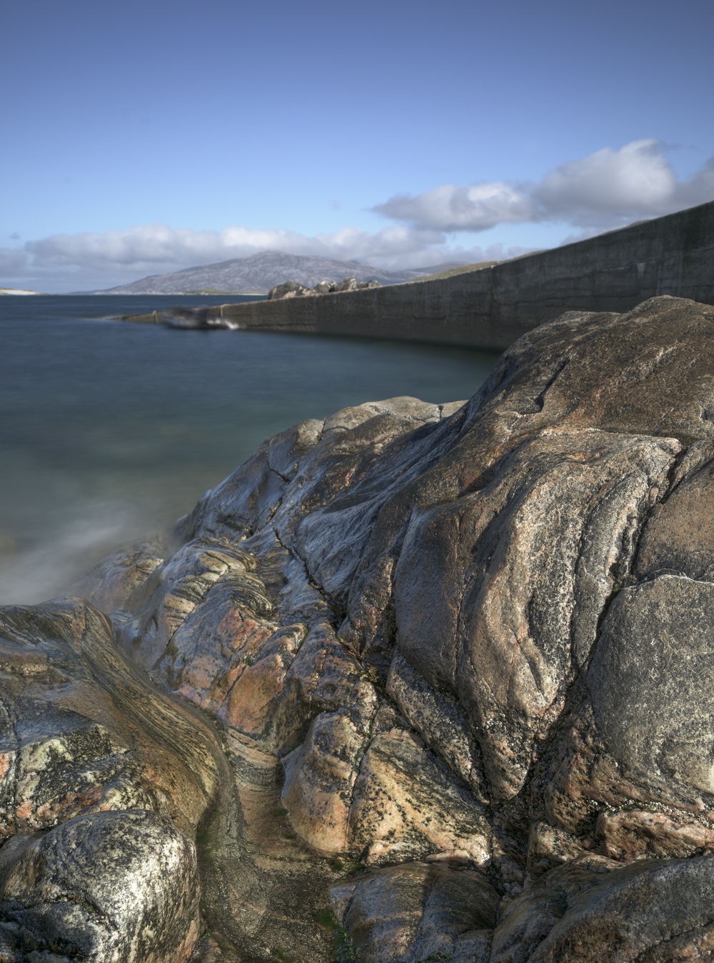 Wonderful lines and colours on the boulders of Huisinis Bay, North Harris.
