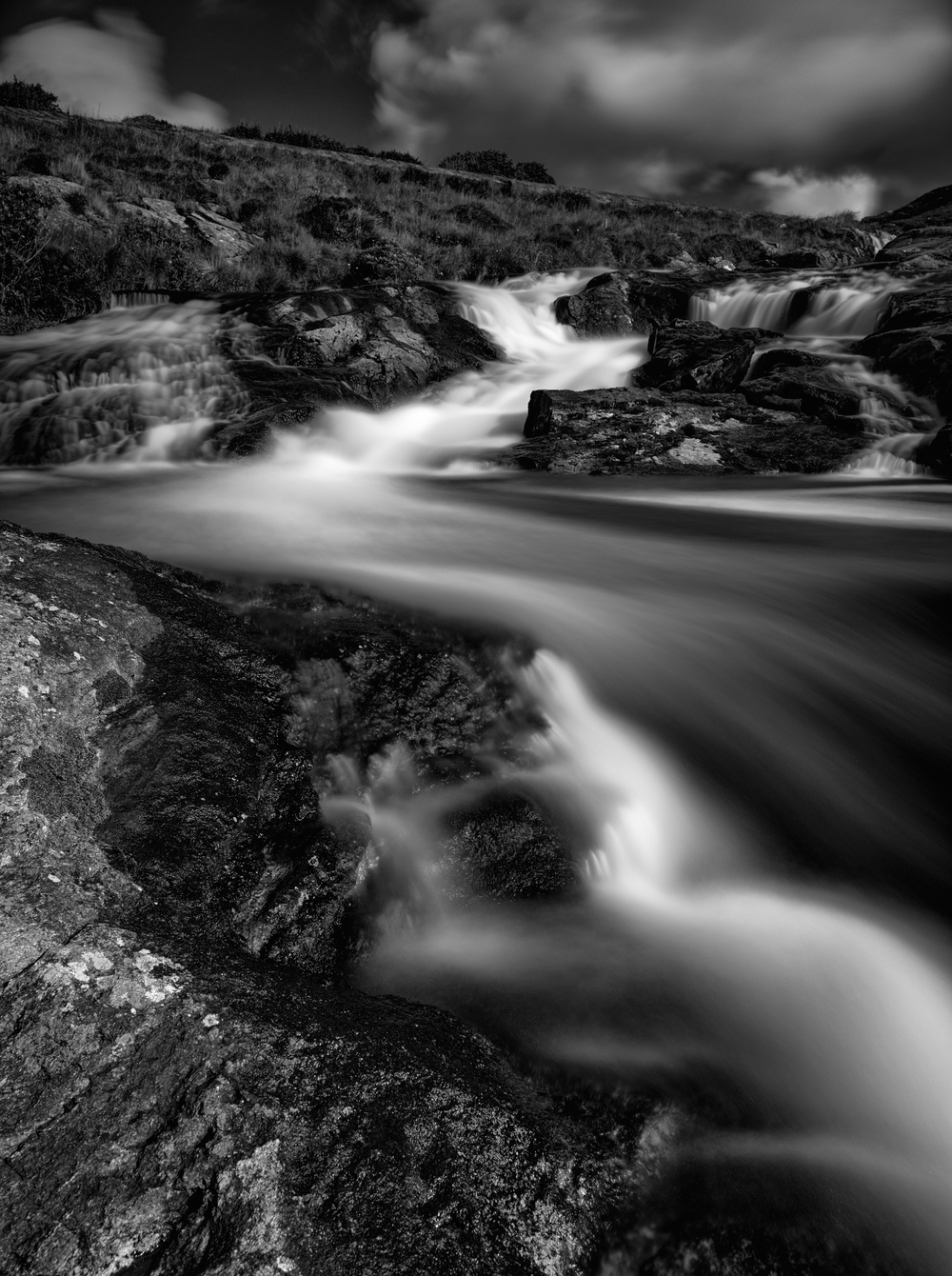 The snaking water of Amhuinnsuidhe Falls, North Harris.