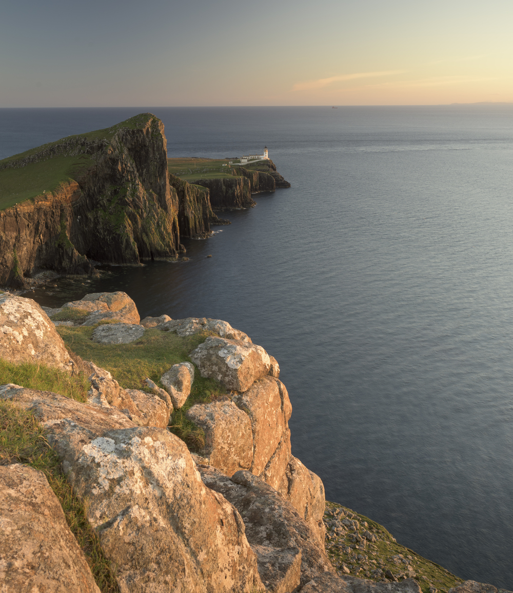 The last light falls on a very calm Neist Point, Skye.