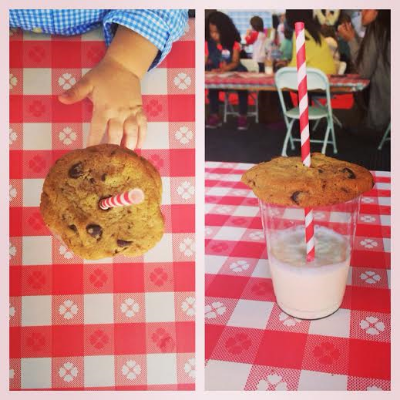 Cute idea for milk and cookies. Plus a sweet chubby hand!