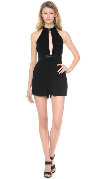 Blessed Are The Meek Romper  $56 (on sale!) I wore this romper out to a dinner with friends last week and loved how it was fun and edgy yet very comfy. It has a      split front panel and cutout back, and faux leather details the waist and neck. You can't really beat the price either!