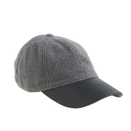 Leather-brim baseball cap $29.99