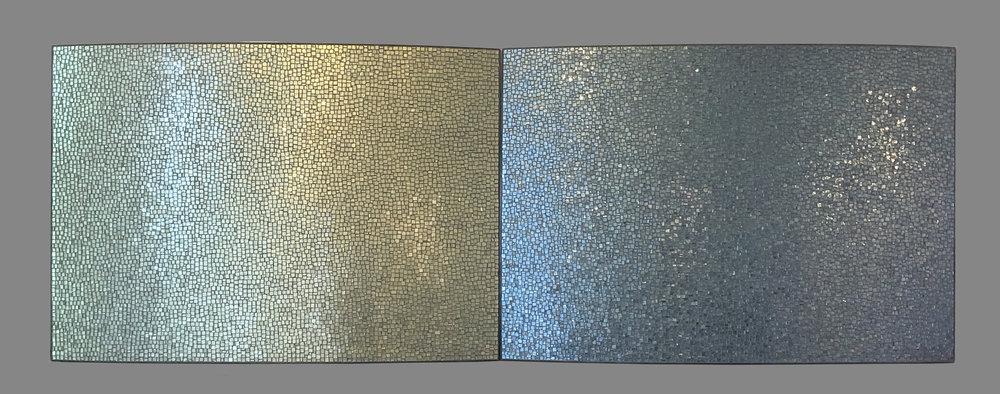 "Surface 2017 Glass, Steel 32""h x 90""w x 3""d"
