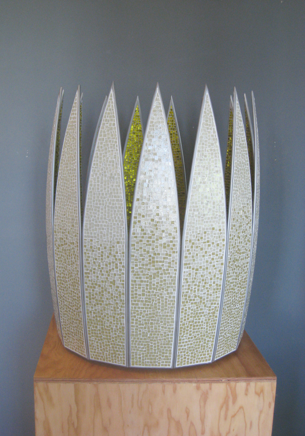 "Petal  Glass, Concrete, Steel. 36""h x 31""w x 31""d"