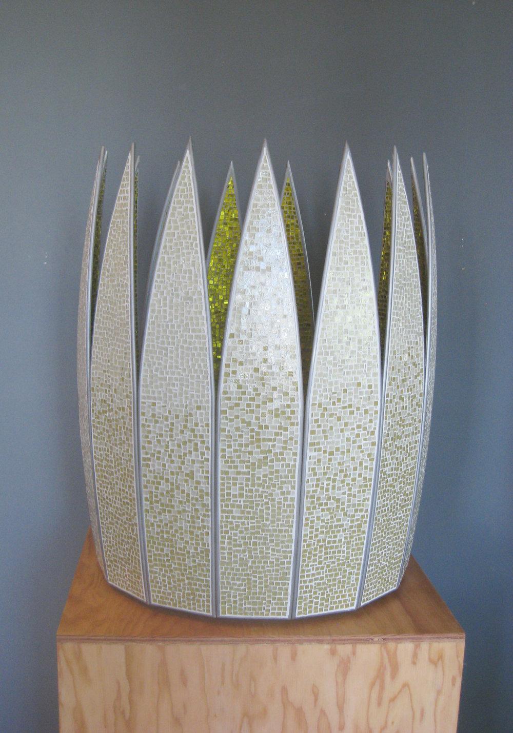 "Petal  Glass, Concrete, Steel. 36""h x 31""w x 31""d"