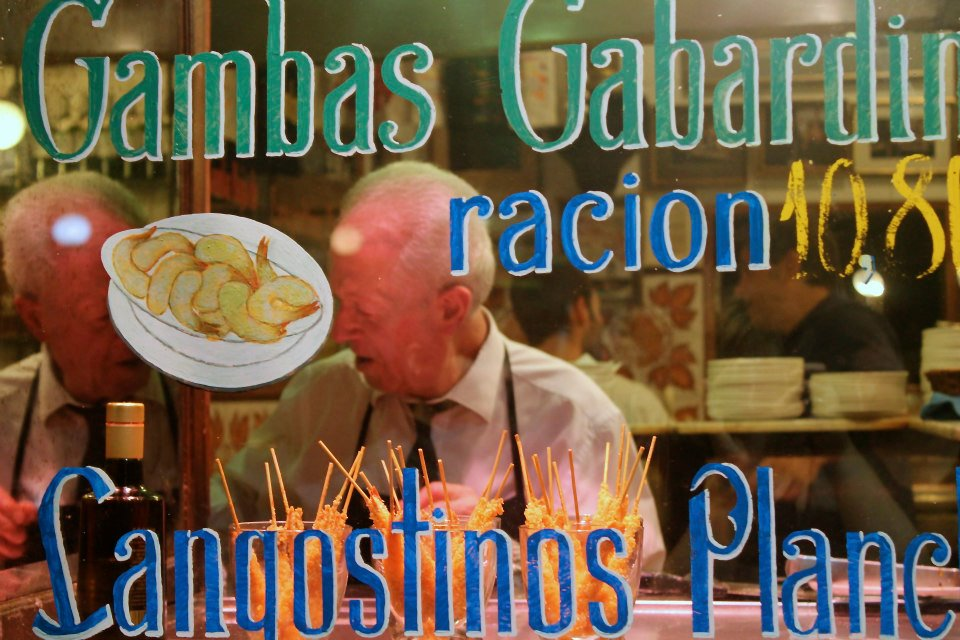 La Casa del Abuelo  in Madrid. Famous for their inimitable petite shrimp sizzling in hot oil, chili, and garlic.