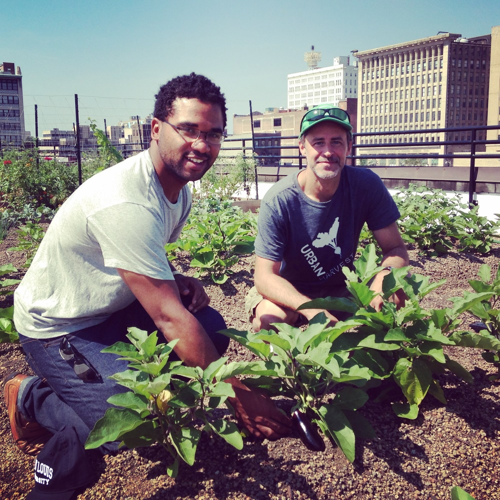 Two men kneeling in the farm rows smiling next to some leafy greens