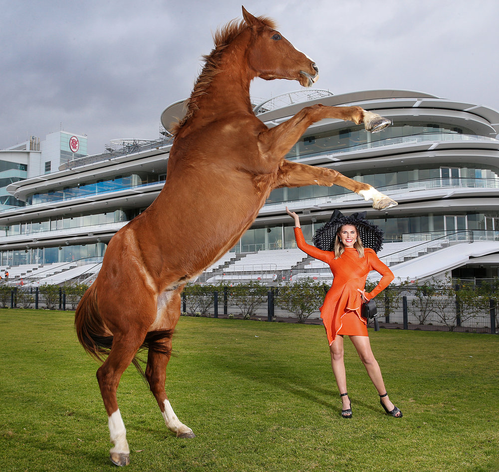Promotional picture for the Victorian Racing Club as it announces the opening of its new Club Stand.