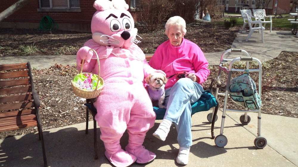 The Easter Bunny joined Millie and resident Lucille Wroblewski in watching the kids begin their hunt for eggs.