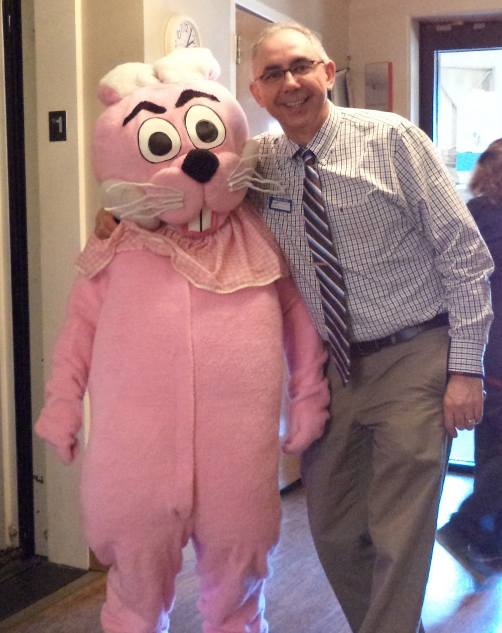 New Administrator Jimmy Grimes ushered in the Easter Bunny.