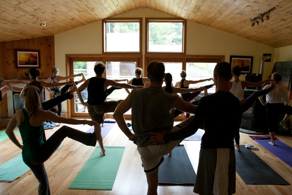 A group shot of Utthita Parshvasahita from an Ashtanga practice led by the amazing Kathy McNames and Scott York from Yoga Vermont. This was part of an overnight retreat at the Stowe Mountain Ranch Yoga Retrat Center back in September of 2012. Spot me in the front row! One of my favorite Vermont memories.