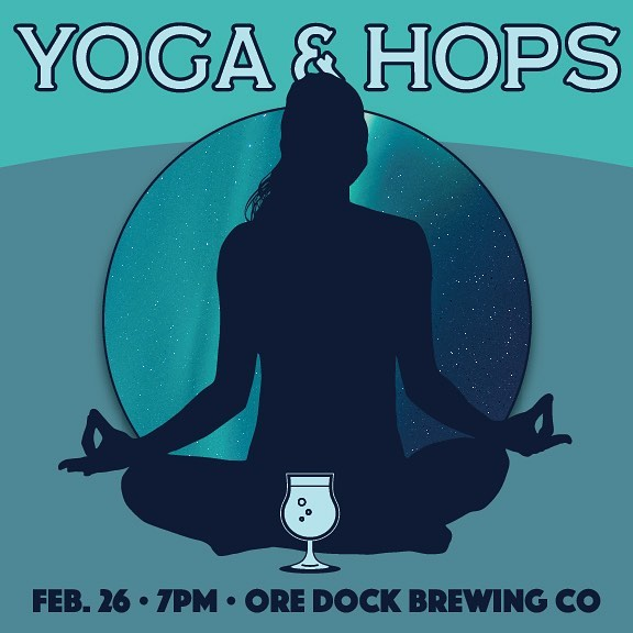 This winter has been tough. We could all use a little bit of togetherness and movement, yea? Join me tomorrow! #yogaandhops #marquetteyoga #beeryoga