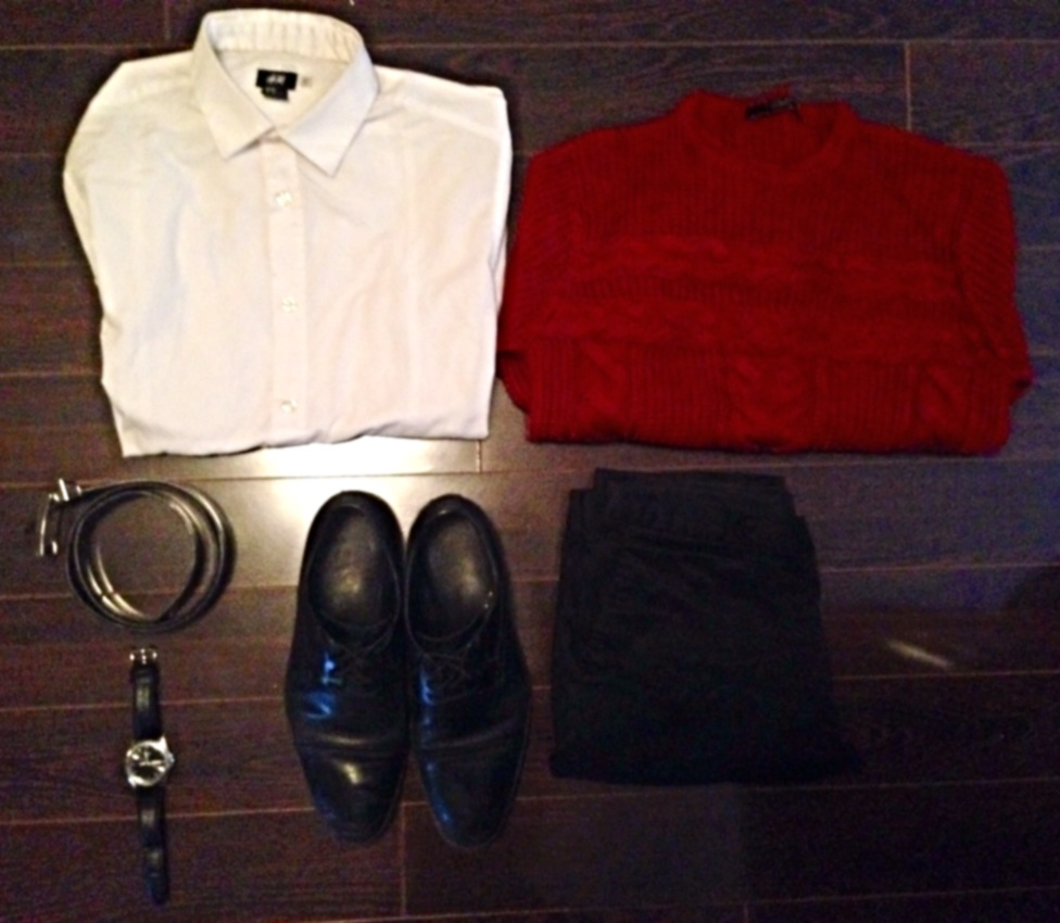Dress Shirt: H&M, Knit Sweater: Zara, Dress Pants: TopMan, Shoes: Aldo, Belt: Danier Leather, Watch: Citizen