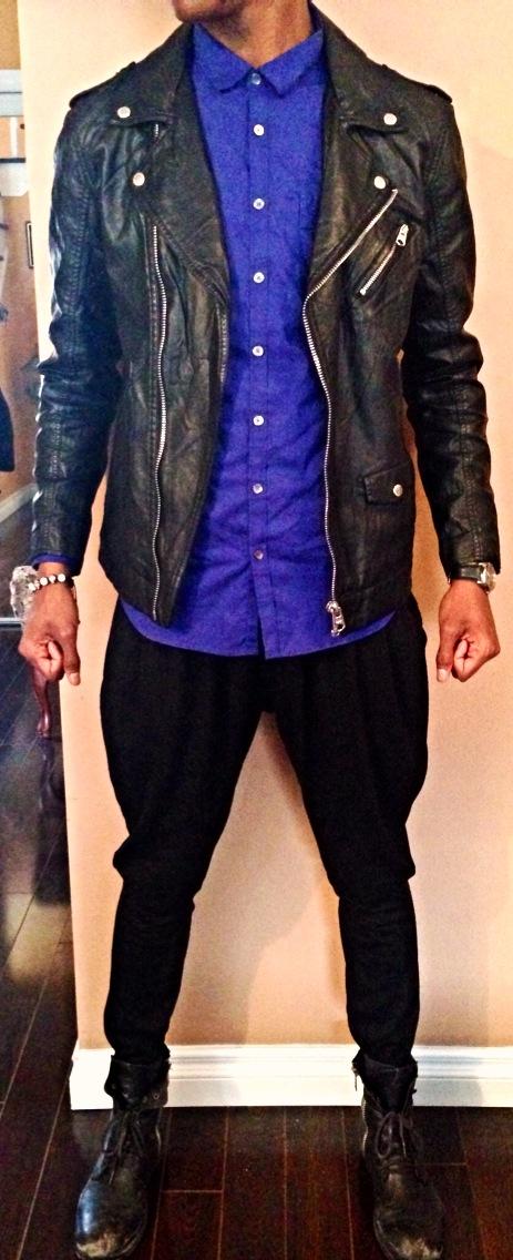 Leather Jacket: Buffalo Button up Shirt: Calvin Klein Harem Pants: eBay Combat Boots: Steve Madden