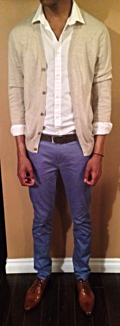 Cardigan: H&M Dress Shirt: H&M Dress Pants: Topman Shoes: Steve Madden