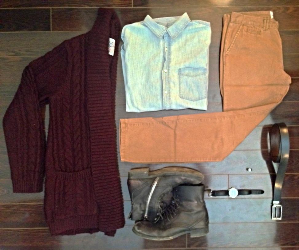Oversized Cardigan: TopMan, Light Denim Button-up: H&M, Chinos: H&M, Combat Boots: Steve Madden, Leather Belt: Danier Leather, Watch: Citizen