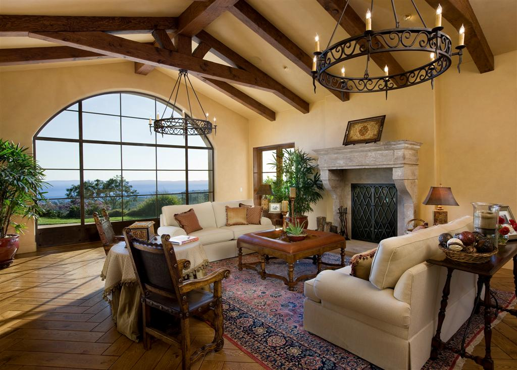 Montecito Santa Barbara mediterranean home Living room
