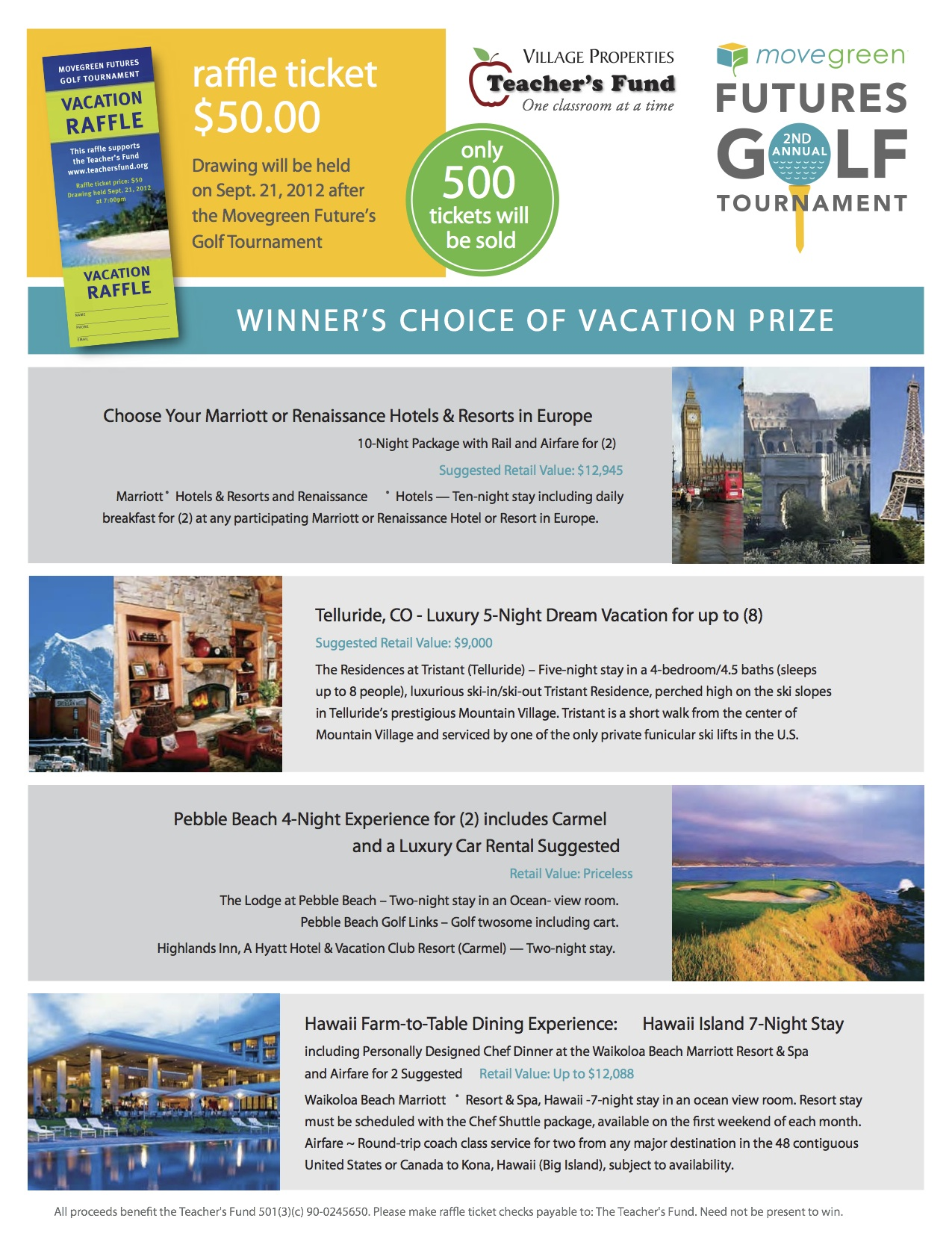Village Properties Vacation Raffle to support The Teacher's Fund