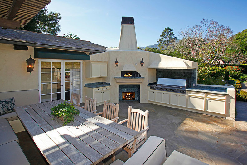 An outdoor kitchen in a Montecito home