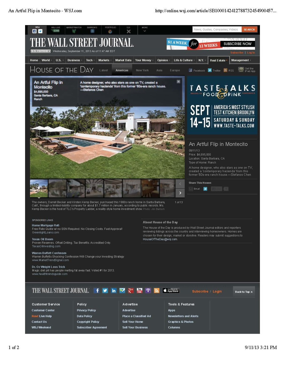 An Artful Flip in Montecito - WSJ.com