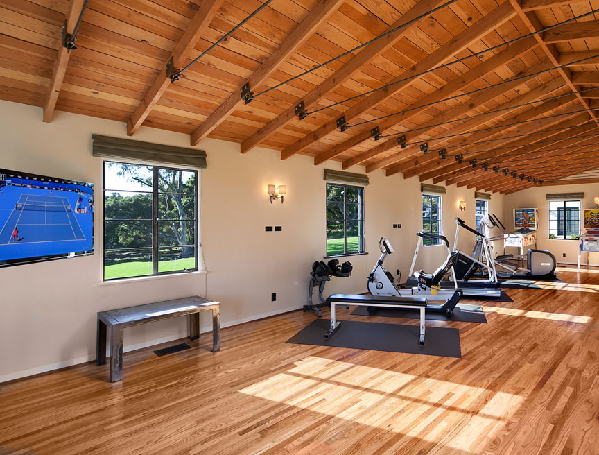 A home gym in a Santa Barbara estate