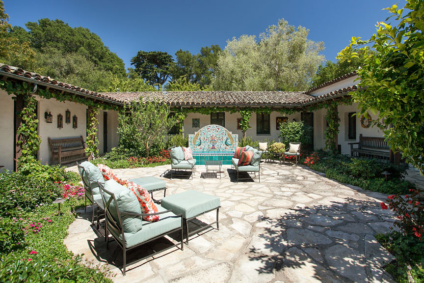 A sunfilled courtyard is the centerpiece to the Santa Barbara estate