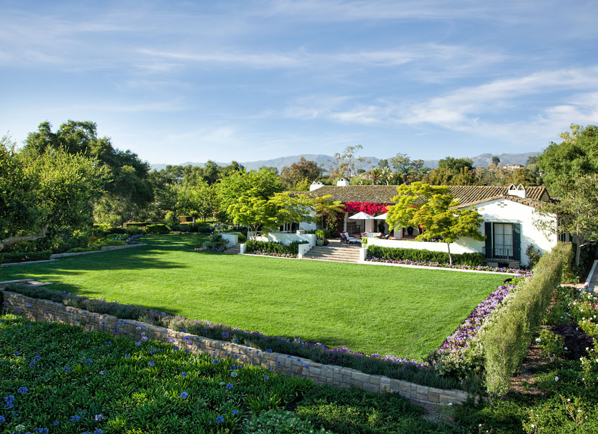 Fragrant gardens surround the Santa Barbara estate.