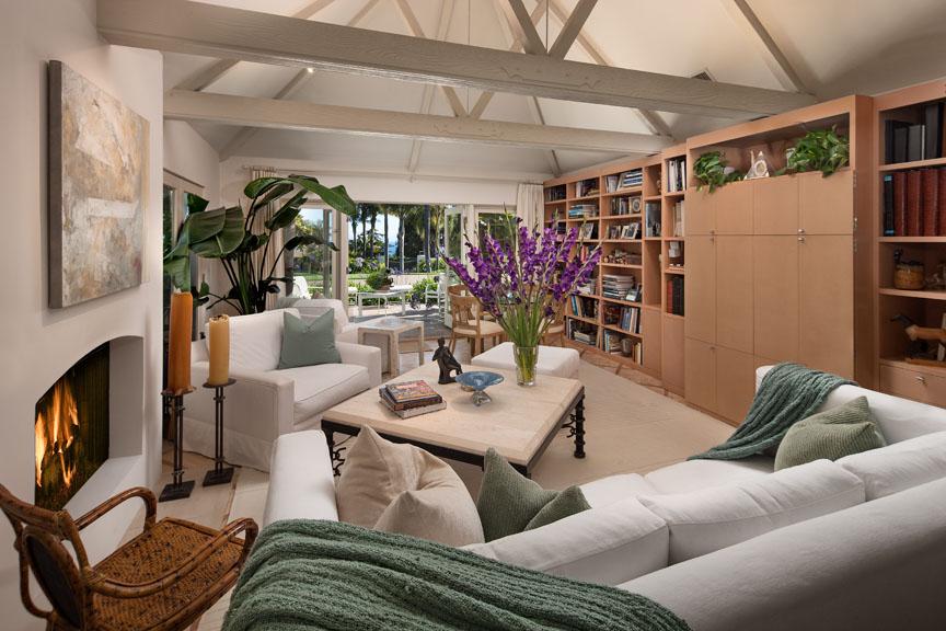 a cozy family room in a Santa Barbara estate