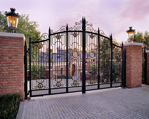 Protective gates provide privacy to this Montecito estate.