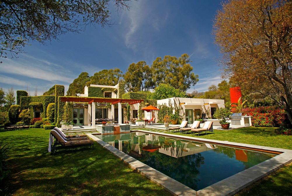 A tranquil zen garden surrounds this Montecito home.