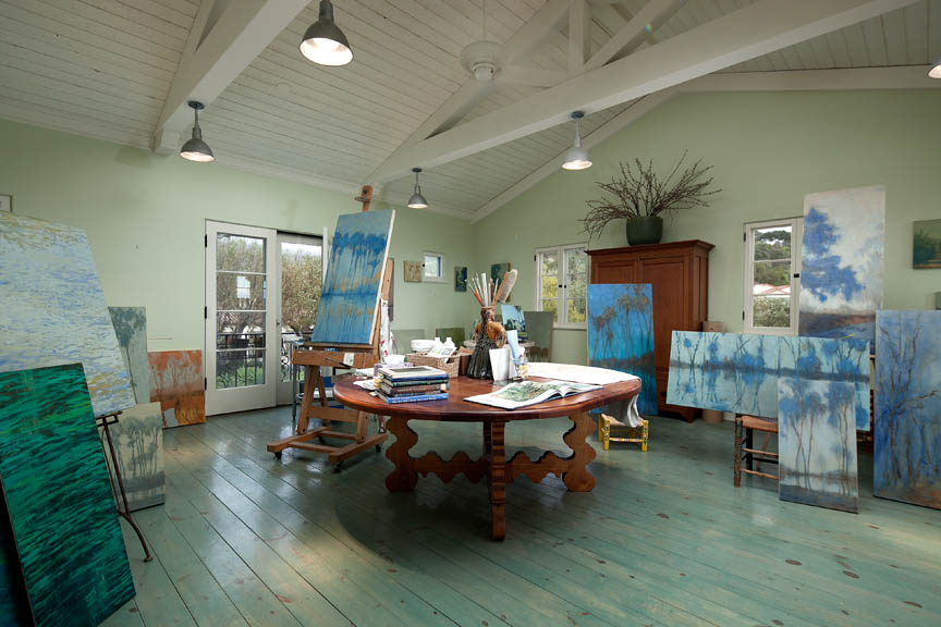 Artist Lisa Pedersen art studio in her Santa Barbara Riviera Estate.
