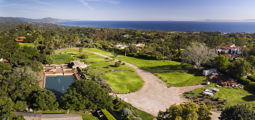 Land and home for sale in Montecito Santa Barbara California ocean views mountain views historic estate 605 607 Cowles hilltop baron dream home Riskin Partners Village Properties