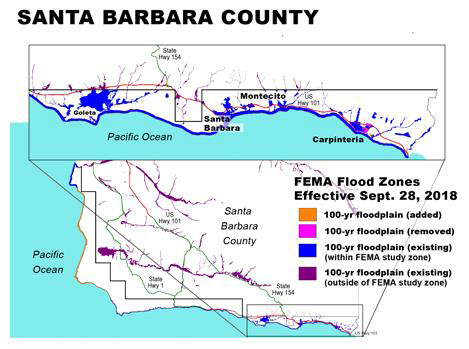 NEW FEMA FLOOD MAPS ISSUED - FEMA recently issued revised Flood Insurance Rate Maps (FIRMs) for Santa Barbara County. These maps, which took effect on 9/28/18, show areas that are considered to be in a floodplain, and therefore may require homeowners to obtain flood insurance.The map release, which includes a regular FEMA map update and an earlier Letter of Map Change (LOMC), has added a total of approximately 198 parcels to the Special Flood Hazard Area (