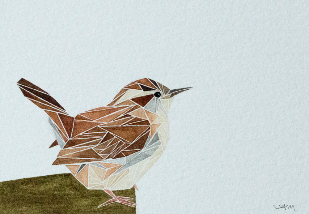 geometric carolina wren, watercolor on paper* 2014 -AVAILABLE-