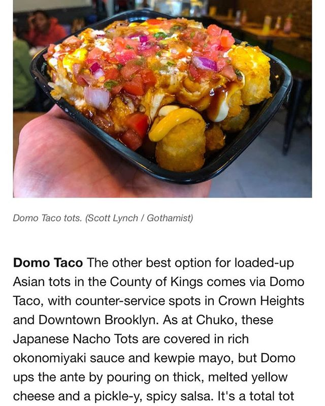 Thanks for the write up @gothamist! You can find this at all locations including Broadway btwn 40th/41st with @urbanspacenyc . . . . . . . . #eeeeeats #foodporn #foodgasm #foodphotography #food #asiantaqueria #eaturban #tacos #tatertots #garmentdistrict