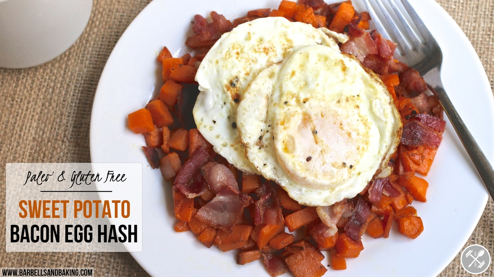 Paleo and Gluten Free Sweet Potato Bacon Egg Hash - www.barbellsandbaking.com