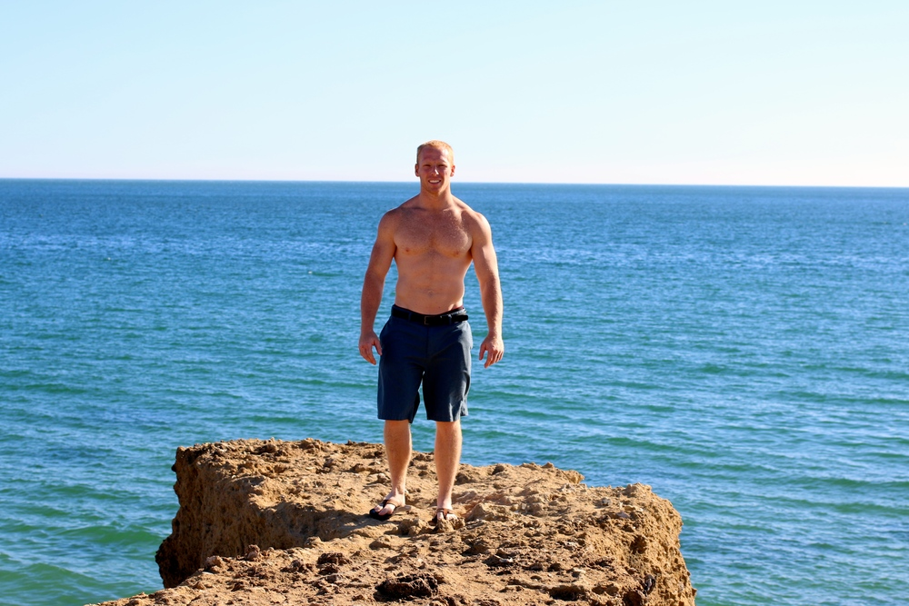 I made my hottie hubby go stand out on the rocks. ;)